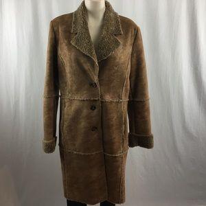 Zara Jean Basic Brown Faux Shearling Jacket L